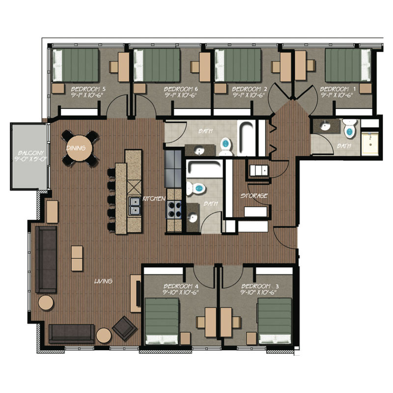6 Bedroom 3 Bath Apartment